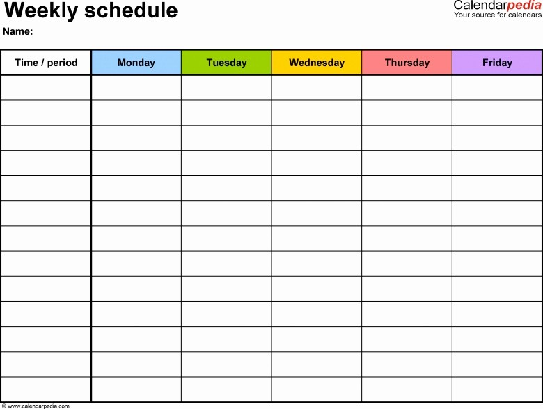 5 Day Weekly Calendar Template New Monthly 5 Day Calendar Template Excel Free Calendar Template