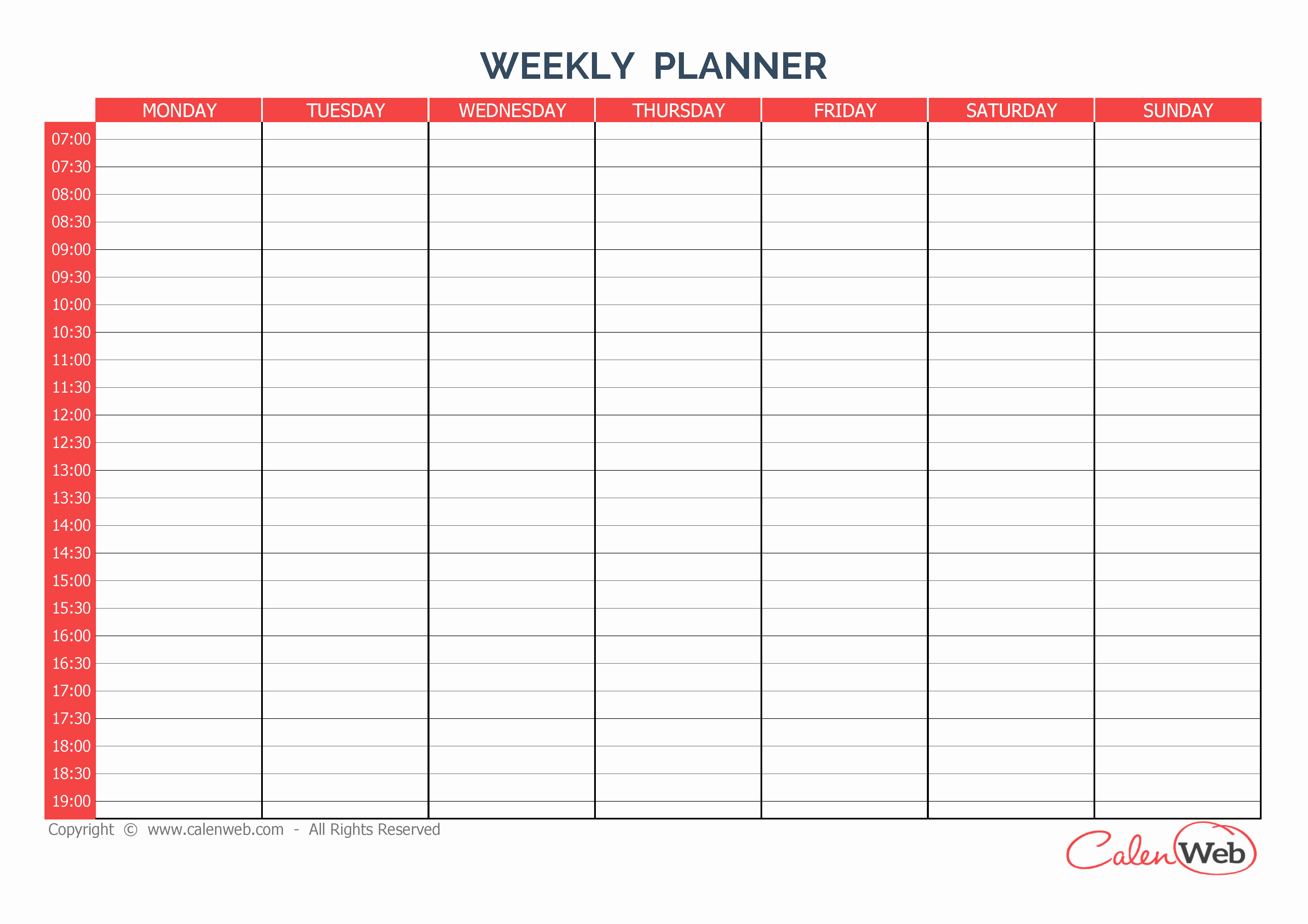 5 Day Weekly Calendar Template New Weekly Calendar Planner