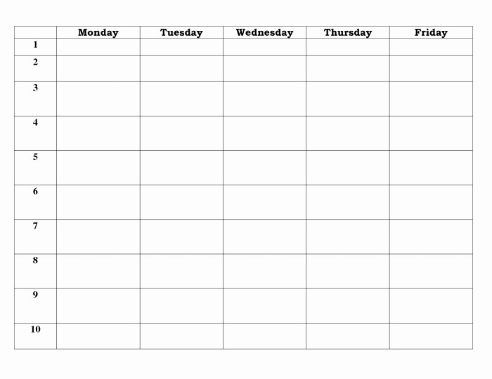 5 Day Weekly Calendar Template Unique 5 Day Calendar Template