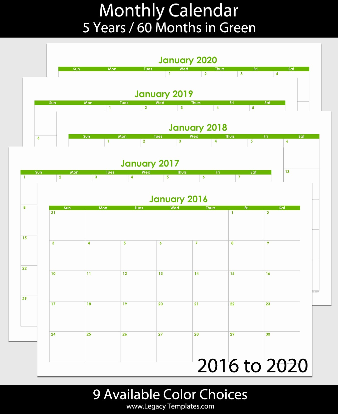5 Year Calendar Starting 2016 Awesome 2016 to 2020 60 Month Landscape Calendar – A5
