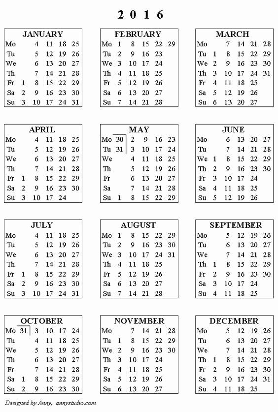 5 Year Calendar Starting 2016 Beautiful Printable Calendar 2016 Weeks Start On Monday Black and