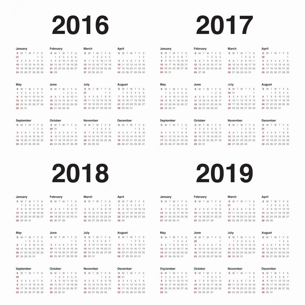 5 Year Calendar Starting 2016 Best Of Calendário 2016 2017 2018 2019 — Vetores De Stock