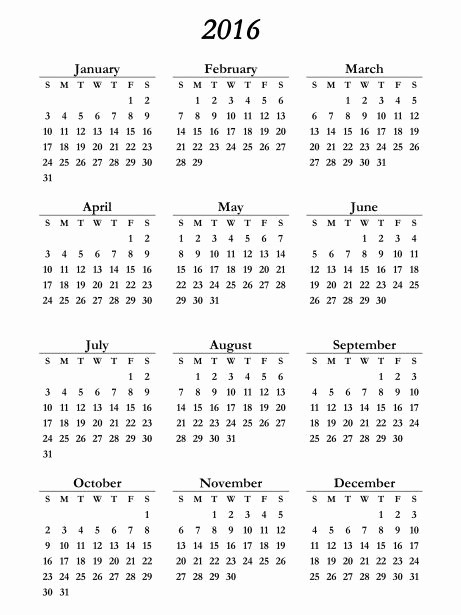 5 Year Calendar Starting 2016 Elegant 2016 Calendar Free Printables