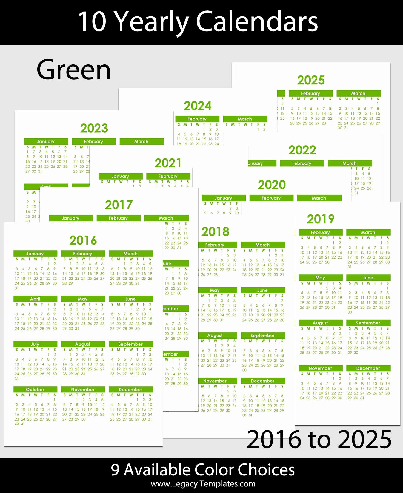 5 Year Calendar Starting 2016 Elegant 2016 to 2025 Yearly Calendar – A5
