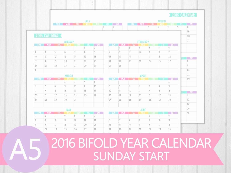 5 Year Calendar Starting 2016 Elegant A5 2016 Bifold Year Calendar Printable by Perfectlyorganised