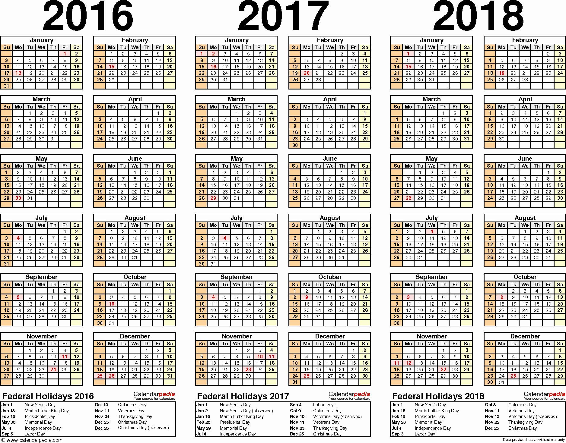 5 Year Calendar Starting 2016 Fresh 2016 2017 2018 Calendar 4 Three Year Printable Pdf Calendars