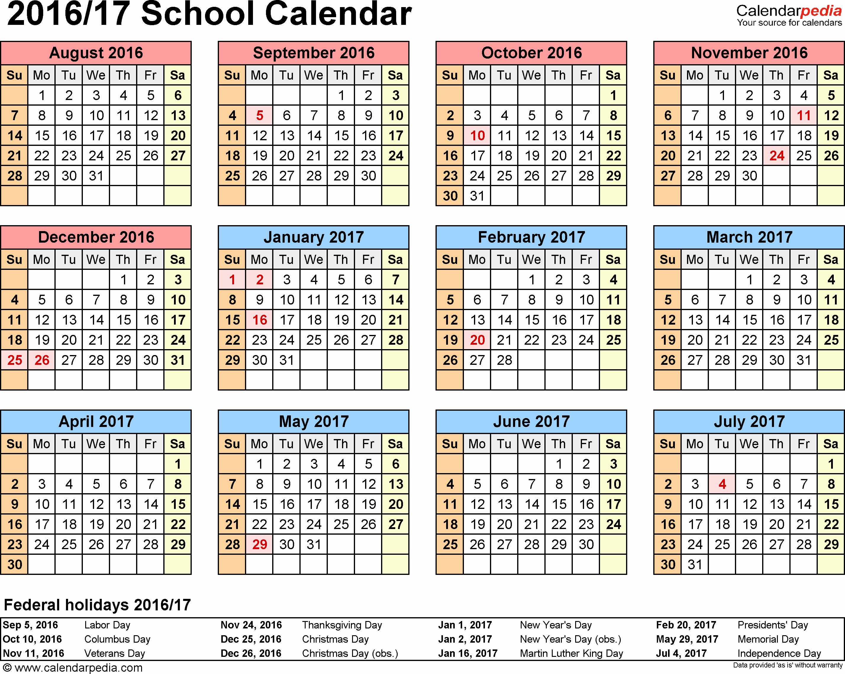5 Year Calendar Starting 2016 Fresh Template 4 School Calendar 2016 17 for Word Landscape