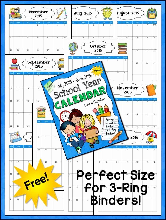 5 Year Calendar Starting 2016 Inspirational Free 2015 2016 School Year Calendar From Laura Candler