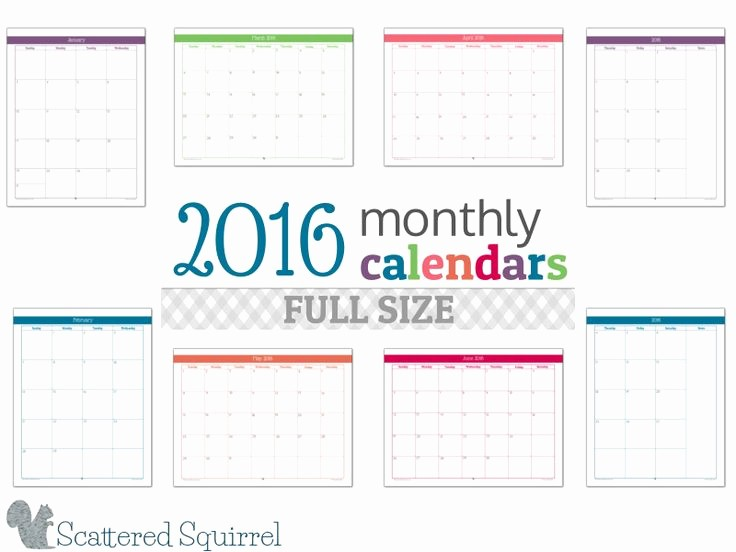 5 Year Calendar Starting 2016 Lovely 2016 Monthly Calendar Printables Full Size Edition