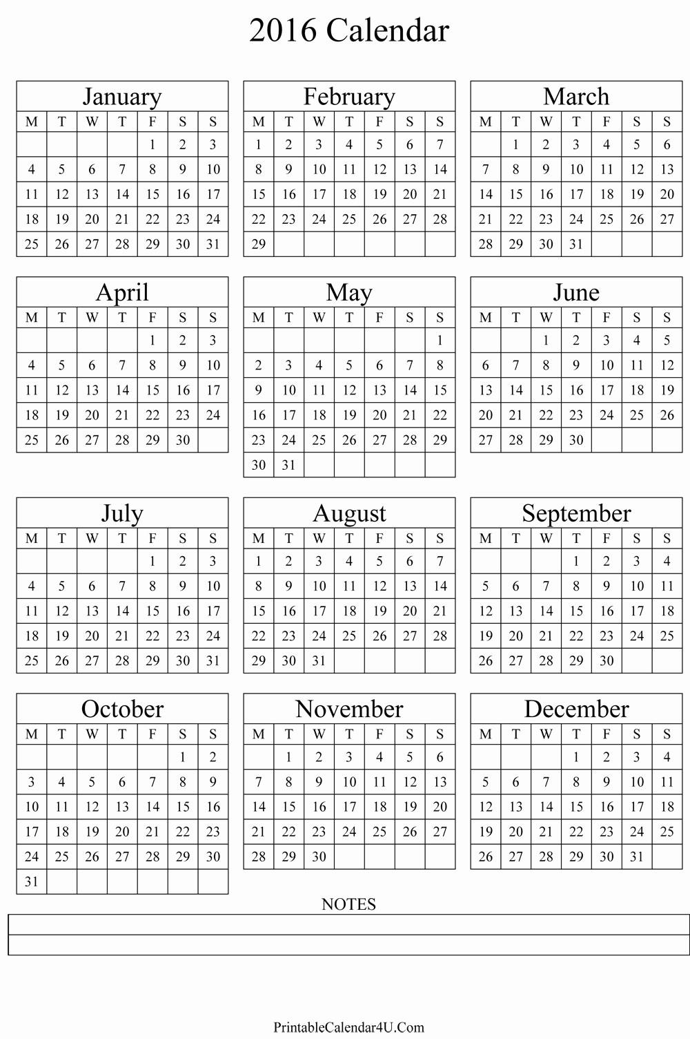 5 Year Calendar Starting 2016 Lovely Annual Calendar 2016 Portrait Printable Calendar 2019 2020