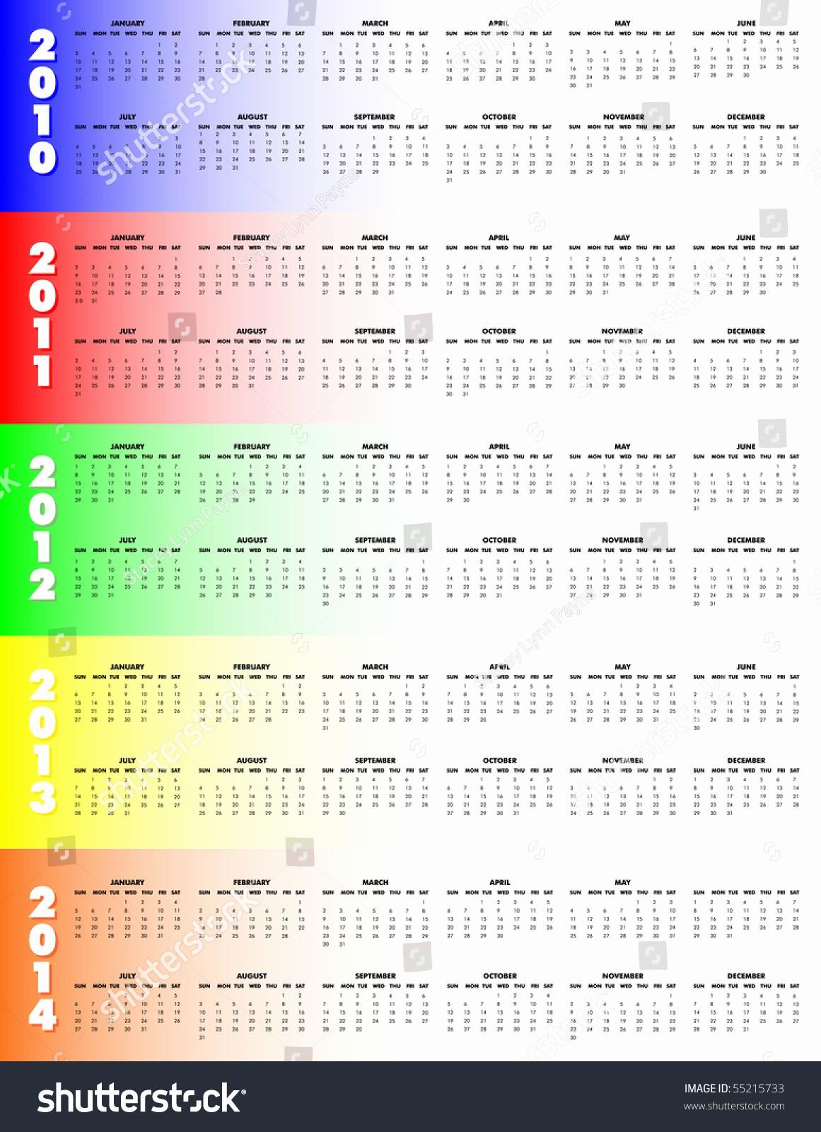 5 Year Calendar Starting 2016 Luxury 5 Year Calendar 2010 Through 2014 Colorful Background