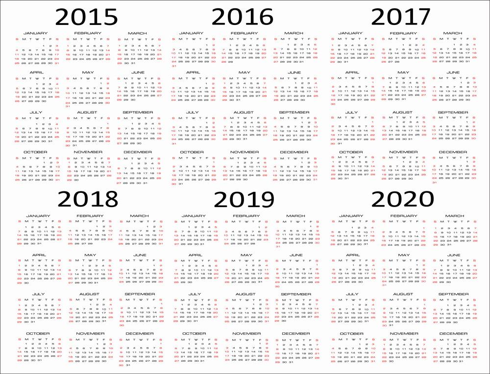 5 Year Calendar Starting 2016 Luxury 5 Year Calendar