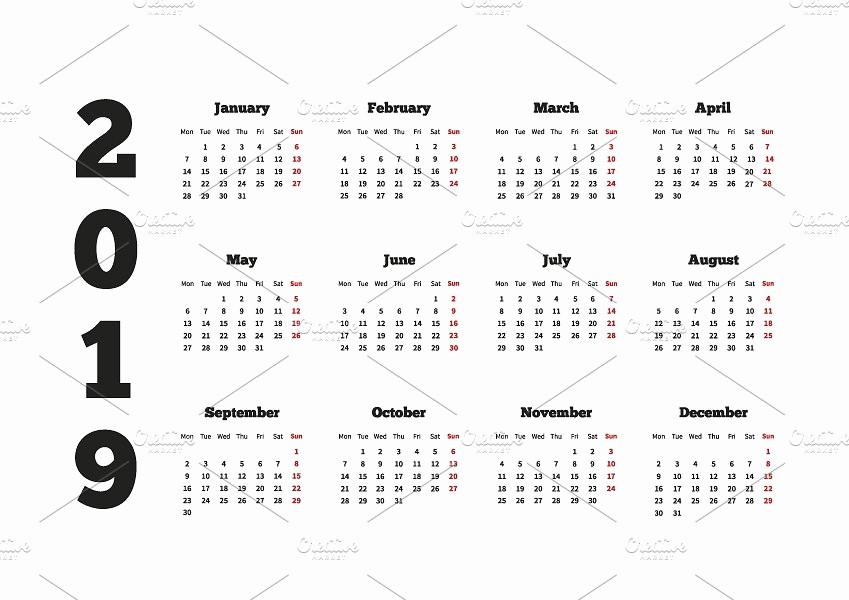 5 Year Calendar Starting 2016 New Calendar On 2019 Year Graphic Objects Creative Market