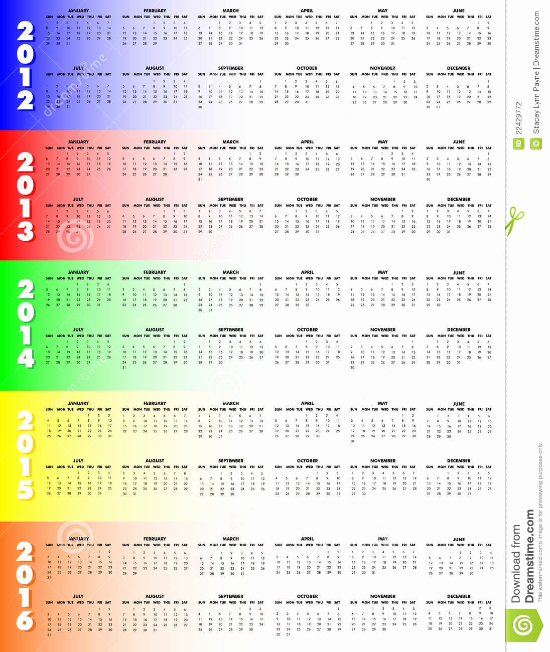 5 Year Calendar Starting 2016 New Five Year Calendar 2012 2016 Sunday Start Stock