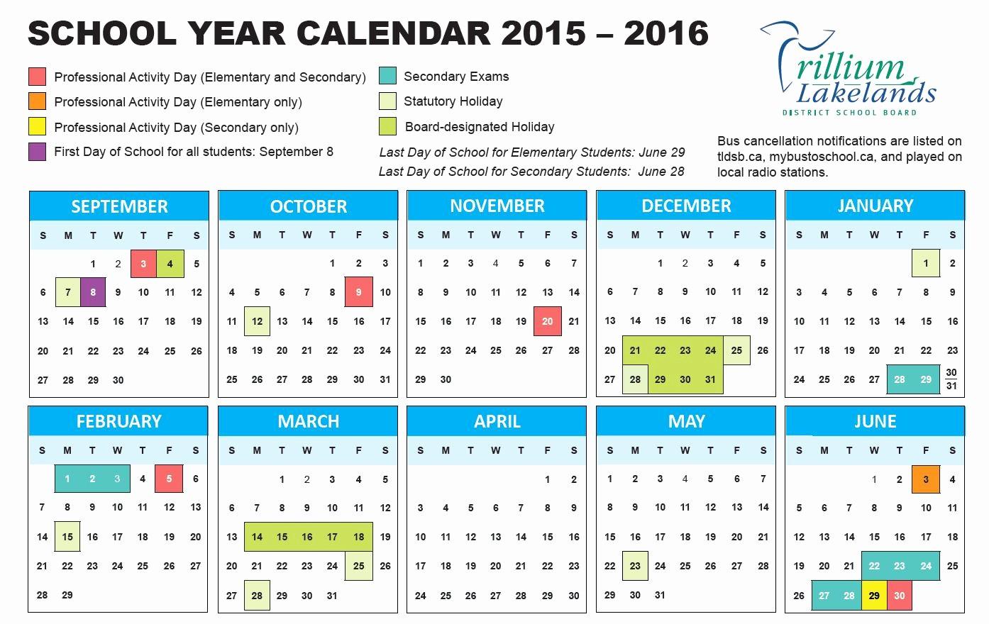 5 Year Calendar Starting 2016 New School Year Calendar Trillium Lakelands District School