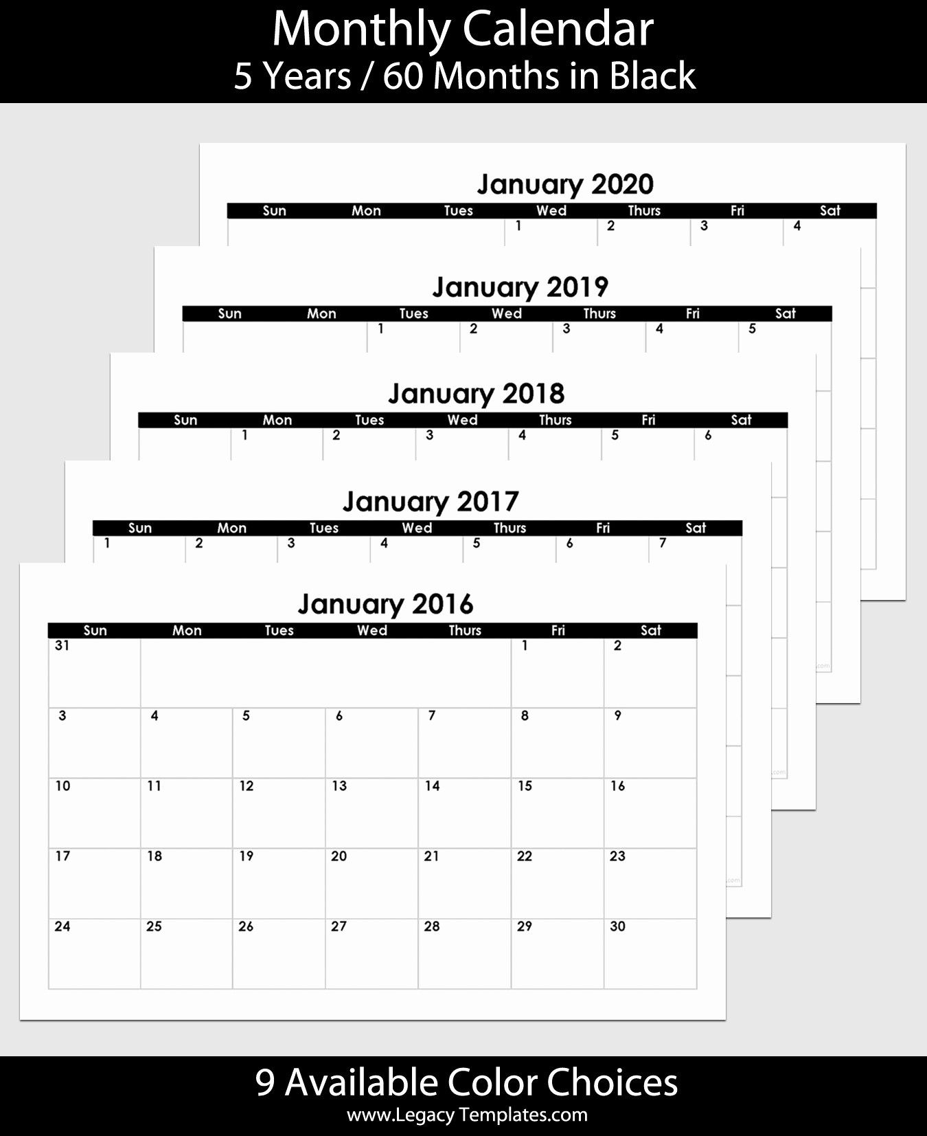 5 Year Calendar Starting 2016 Unique 2016 to 2020 60 Month Landscape Calendar – 5 5″ X 8 5