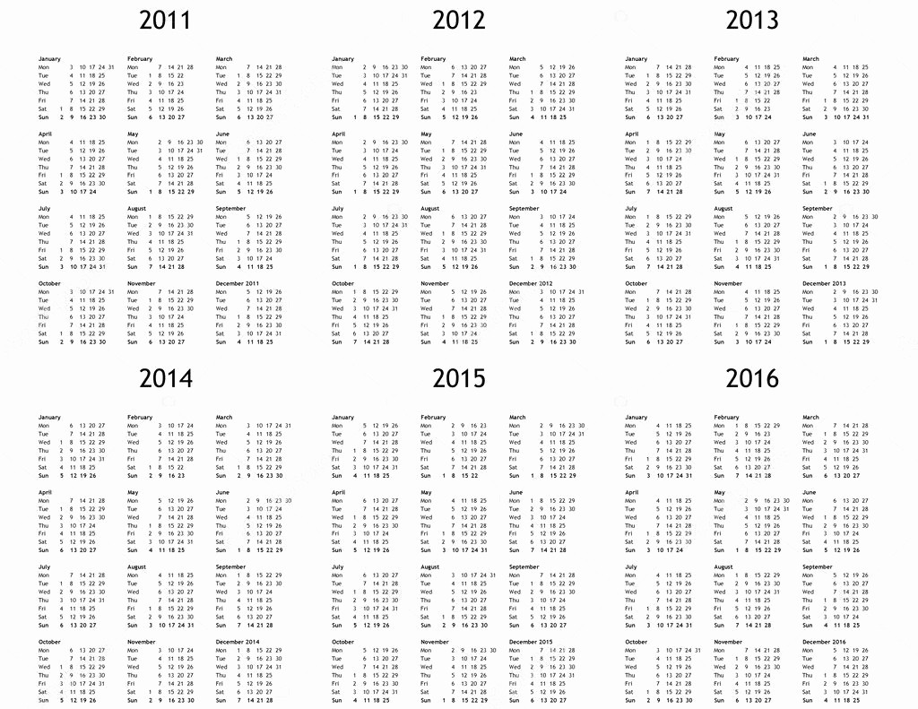 5 Year Calendar Starting 2016 Unique Multi Year Calendar From 2011 to 2016 — Stock