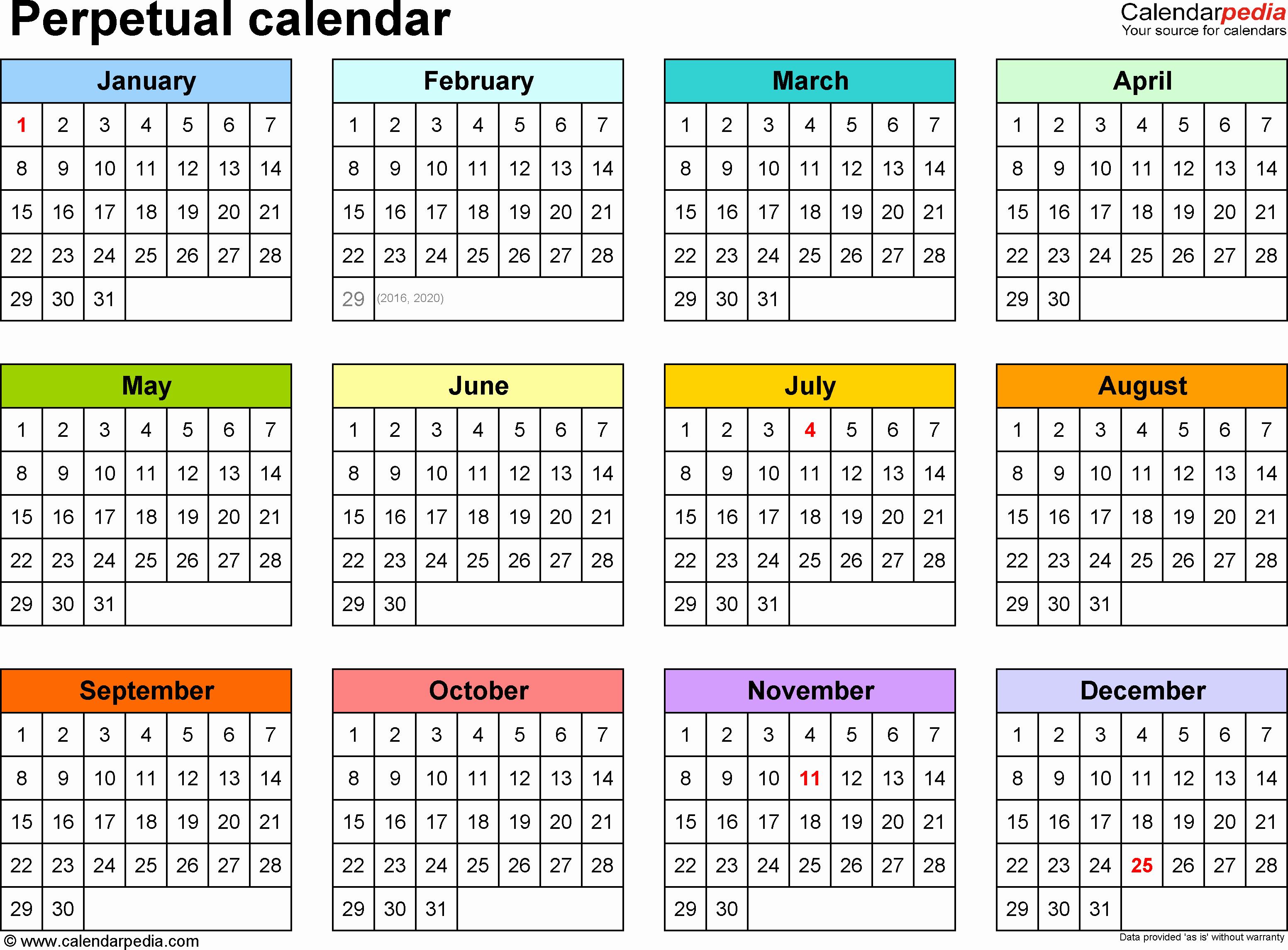 5 Year Calendar Starting 2016 Unique Perpetual Calendars 7 Free Printable Word Templates