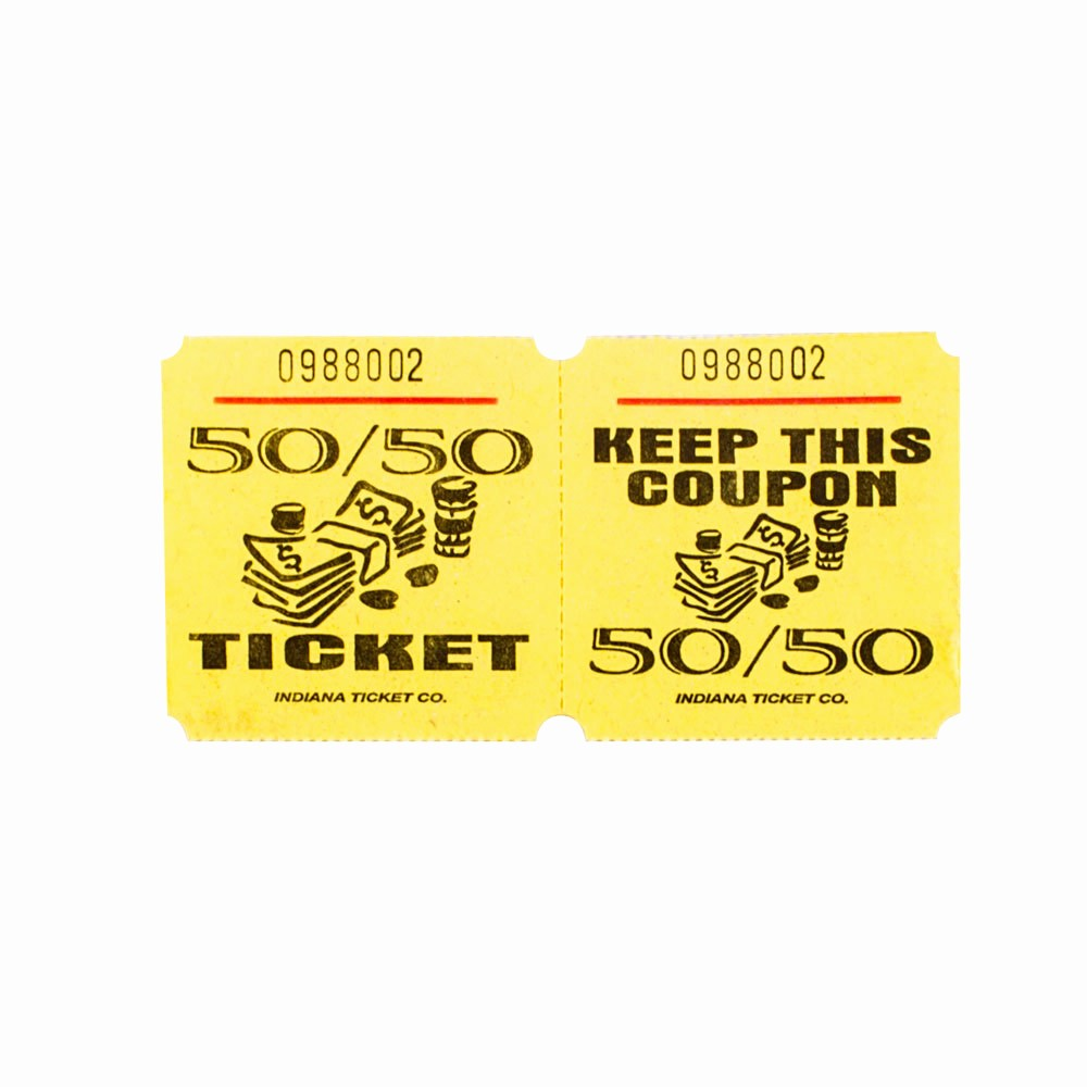 50 50 Raffle Ticket Template Awesome Yellow 50 50 Marquee Raffle Tickets 1000 Roll