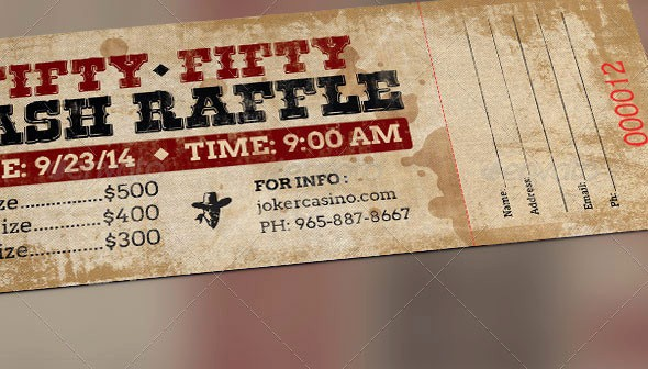 50 50 Raffle Ticket Template Lovely 25 Awesome Ticket Template Designs Print