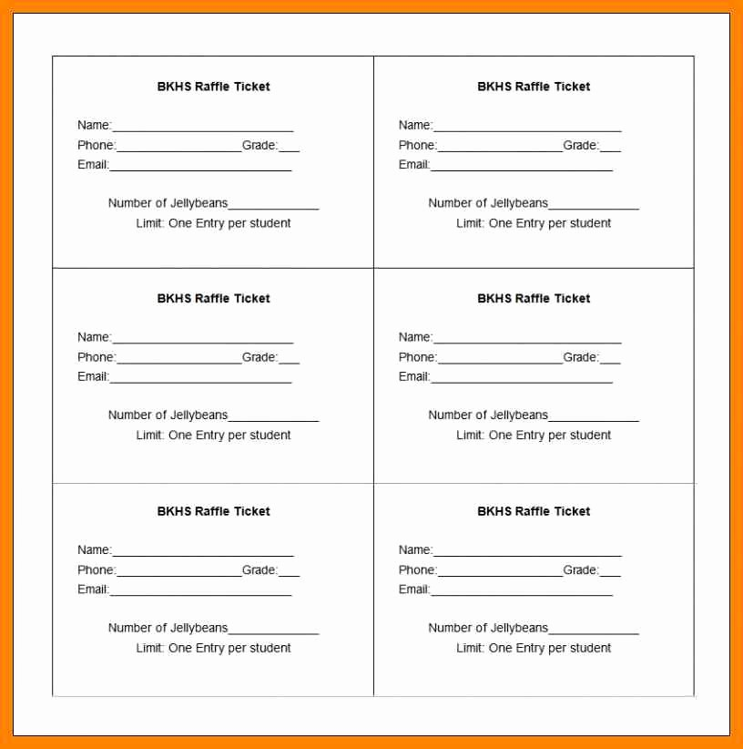 50 50 Raffle Ticket Template New 6 Free Printable Raffle Tickets Template