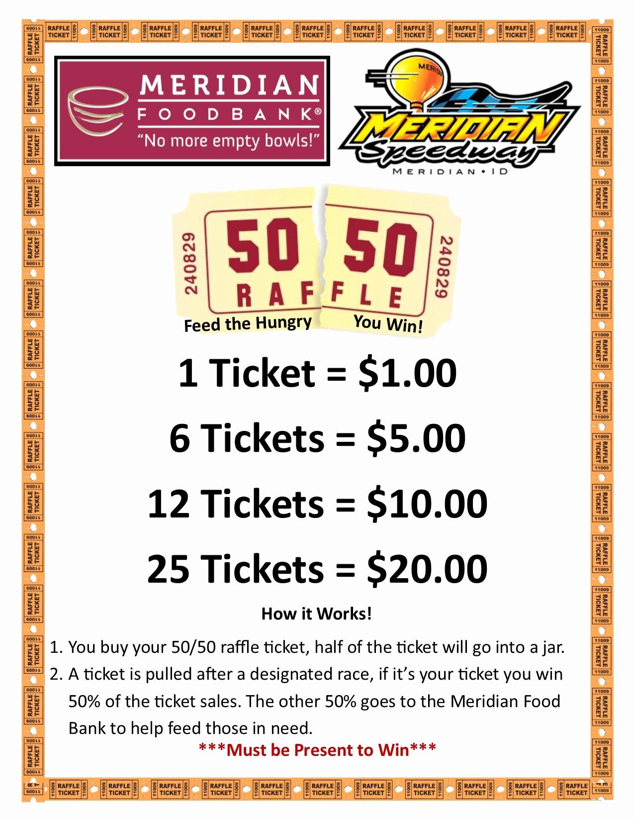 50 50 Raffle Ticket Template New Speedway 50 50 – Meridian Food Bank