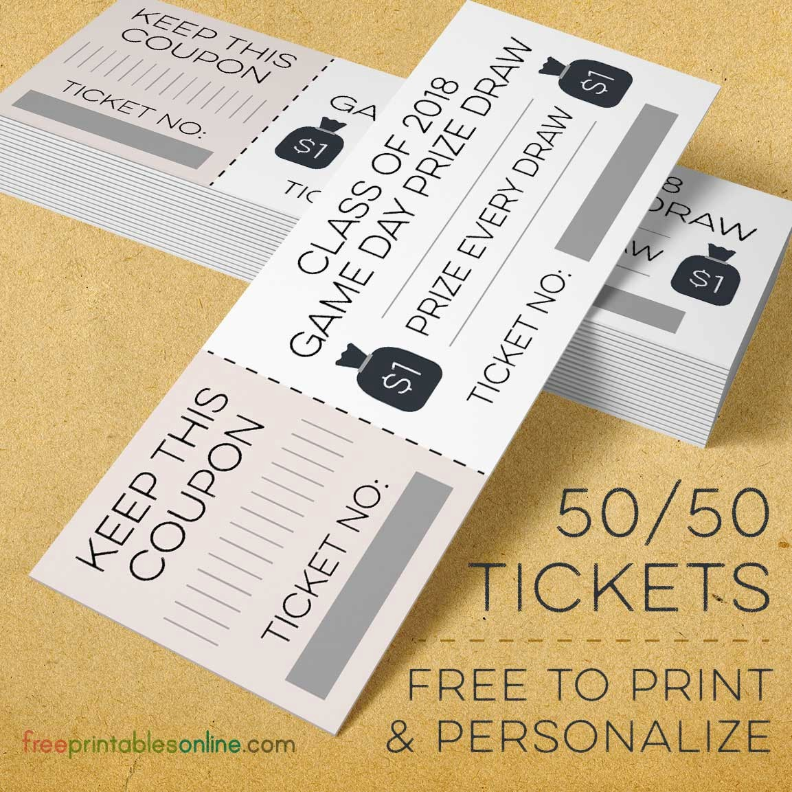 50 50 Raffle Ticket Template Unique Moneybags 50 50 Raffle Tickets Free Printables Line