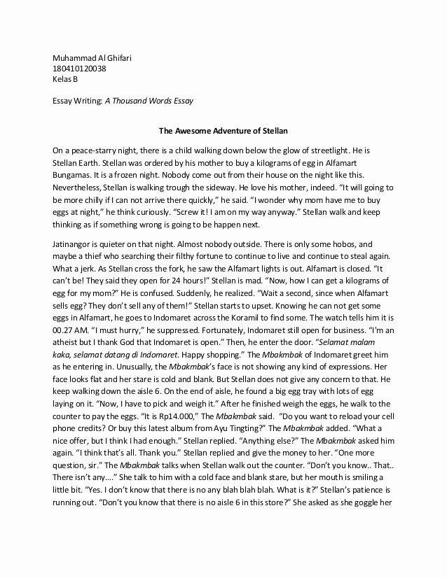 500 Word Essay Mla format Fresh A Thousand Words Essay by Muhammad Al Ghifari
