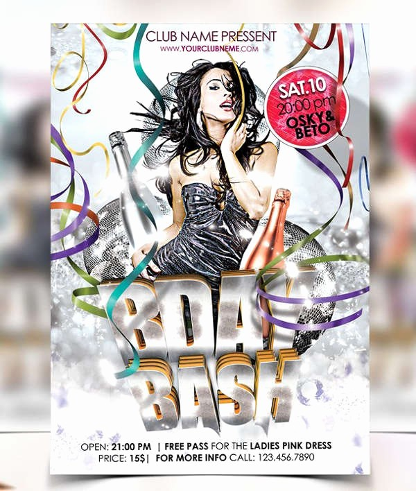 50th Birthday Flyer Template Free Awesome 70 Party Flyers Psd format Download