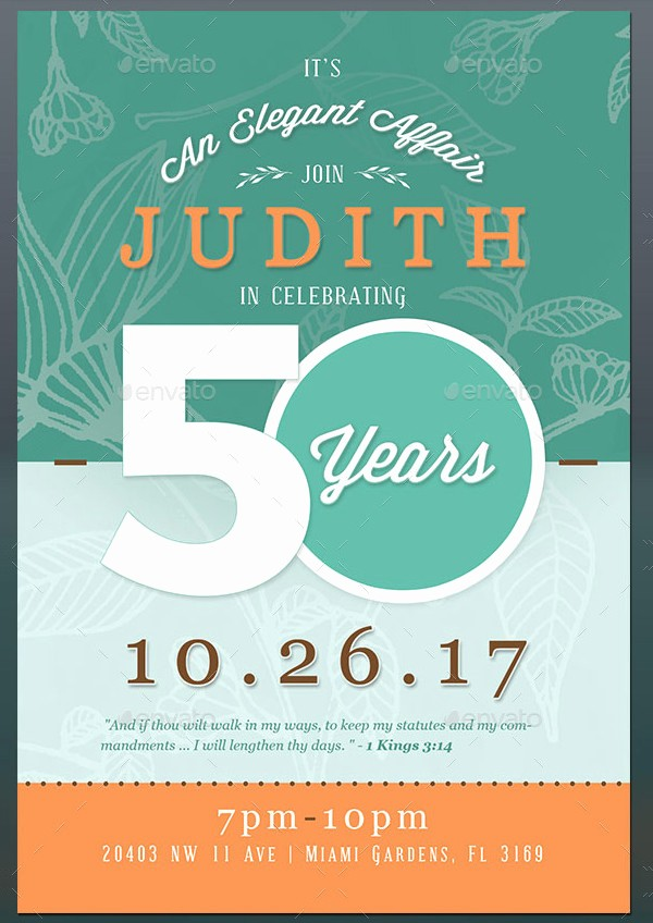 50th Birthday Flyer Template Free Beautiful 50th Birthday Invitation Templates 21 Free & Premium