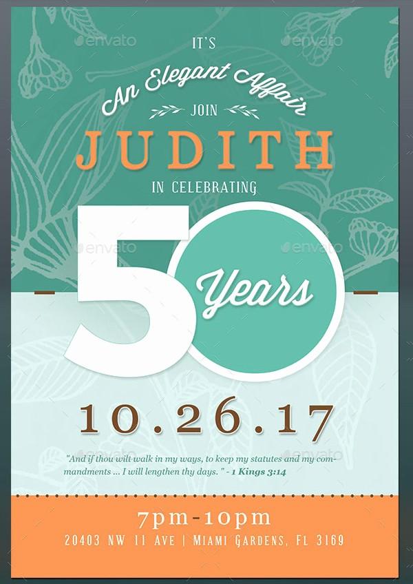 50th Birthday Flyer Template Free Beautiful 50th Birthday Invitation Templates 21 Free & Premium