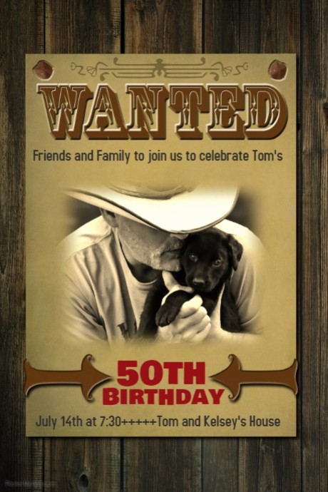 50th Birthday Flyer Template Free Beautiful Wanted Birthday Poster Sign Invitation Western Flyer