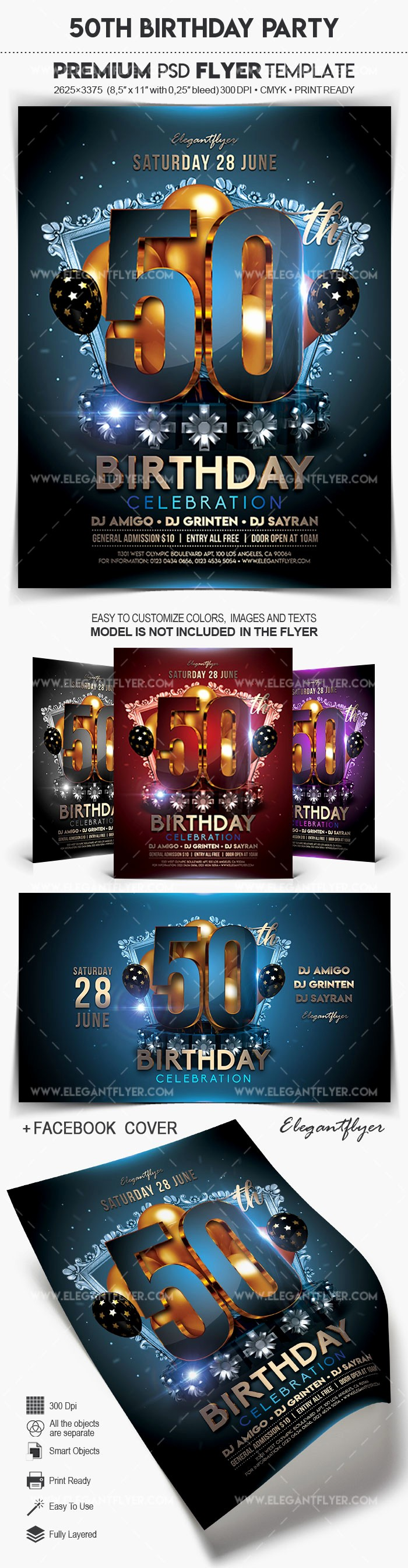 50th Birthday Flyer Template Free Elegant 50th Birthday Party – Flyer Psd Template – by Elegantflyer