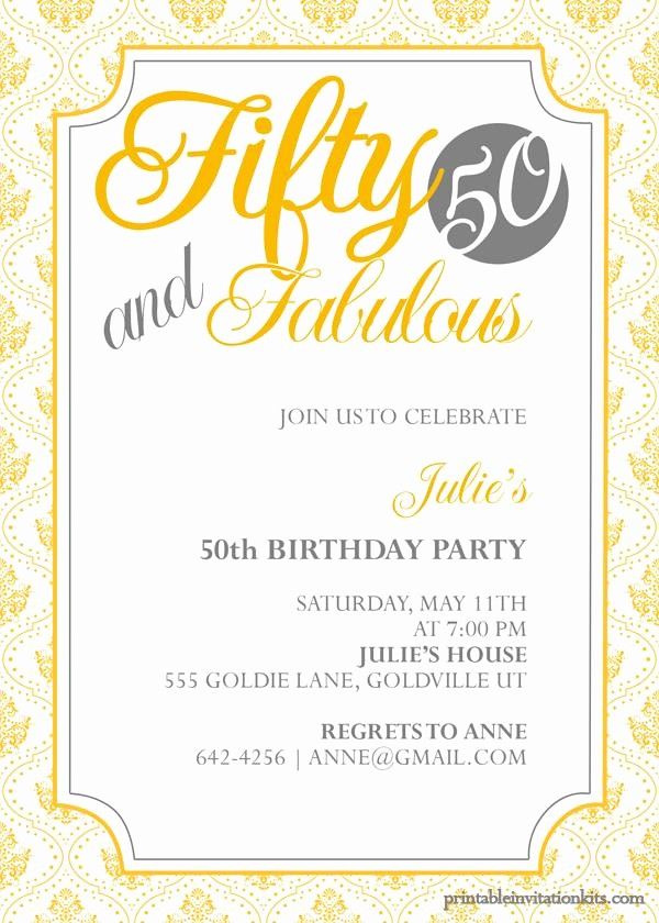 50th Birthday Flyer Template Free Fresh 50th Birthday Invitation Templates Free Printable