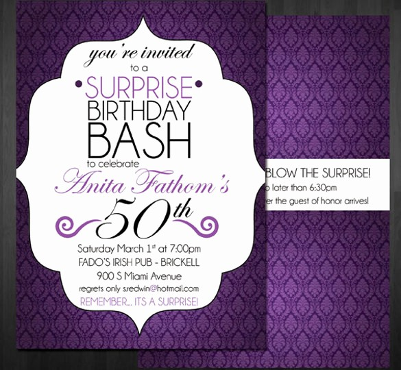 50th Birthday Flyer Template Free Lovely 14 Surprise Birthday Invitations Free Psd Vector Eps