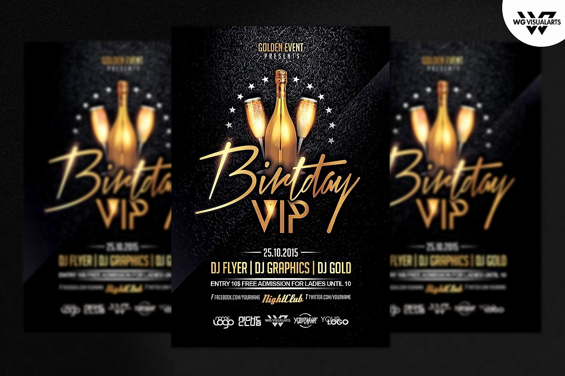 50th Birthday Flyer Template Free New Birthday Vip Flyer Template Flyer Templates Creative