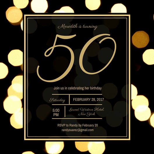 50th Birthday Flyer Template Free Unique Black and Gold Dotted Background 50th Birthday Invitation