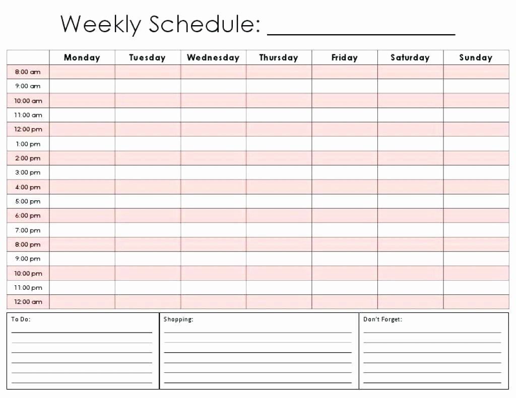 7 Day Calendar with Hours Awesome 7 Day Calendar Template