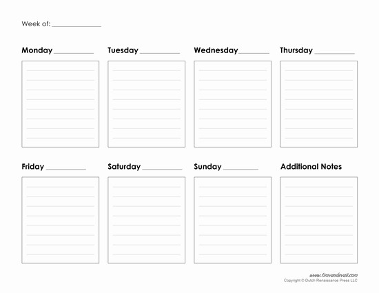 7 Day Calendar with Hours Awesome Printable Weekly Calendar Template Free Blank Pdf