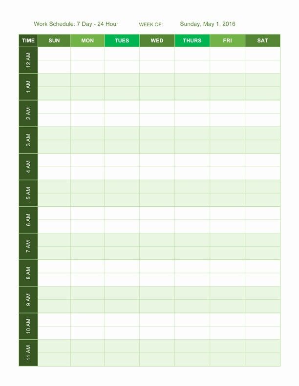 7 Day Calendar with Hours Beautiful 24 Hour 5 Day Calendar Template