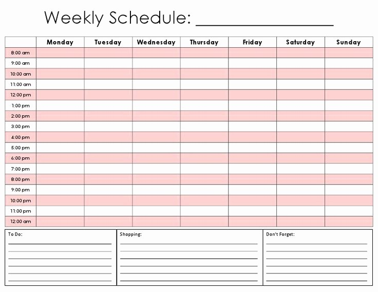 7 Day Calendar with Hours Lovely Printable Schedule Planner Printable 360 Degree