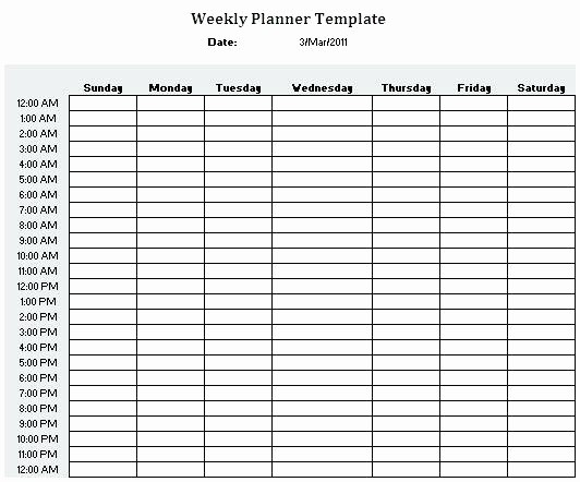 7 Day Calendar with Hours Unique Hour Weekly Calendar Template Schedule 24 Hr