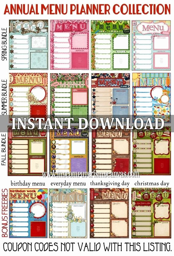 7 Day Menu Planner Template Awesome 17 Menu Template and Meal Planning Charts Kitchen