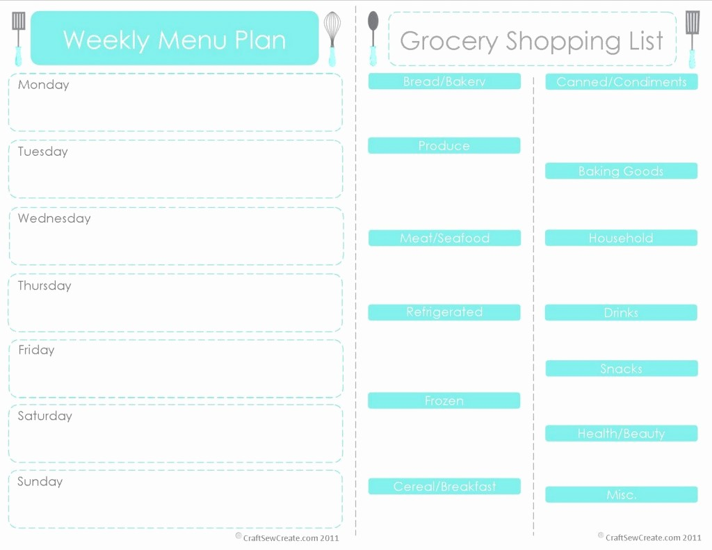 7 Day Menu Planner Template Beautiful 28 Free Printable Grocery List Templates