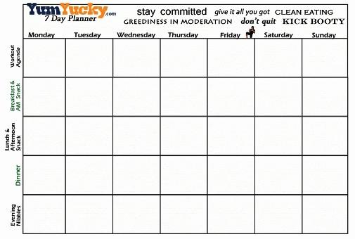 7 Day Menu Planner Template Beautiful Blank Seven Day Calendar