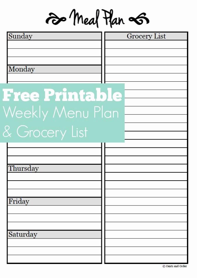 7 Day Menu Planner Template Best Of Meal Planning Free Weekly Menu Planner Printable