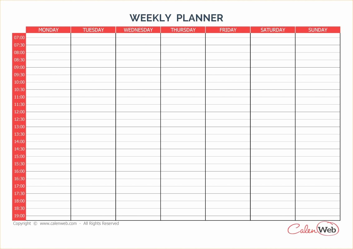 7 Day Menu Planner Template Elegant Weekly Menu Template