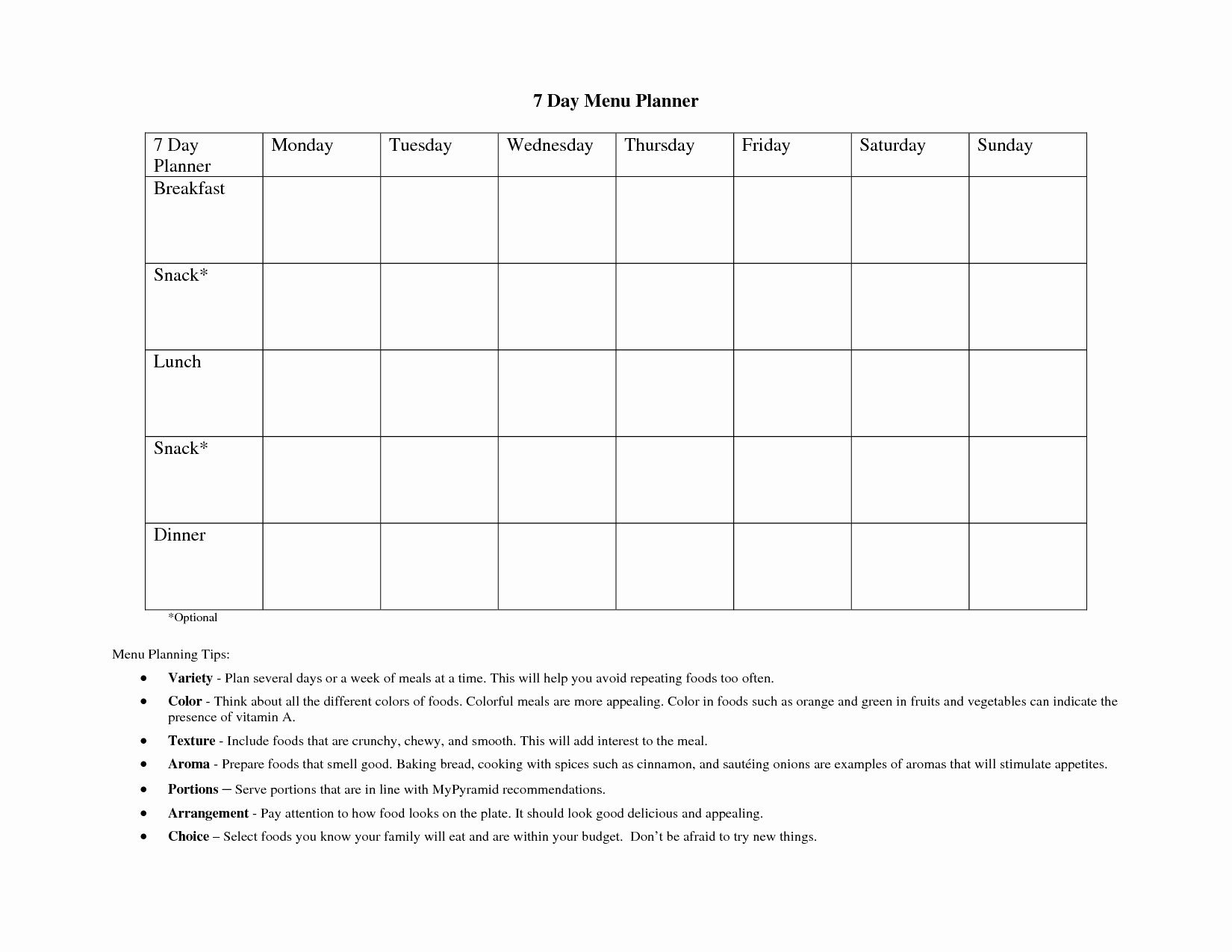 7 Day Menu Planner Template Inspirational 7 Best Of Free Printable Day Care Weekly Menu