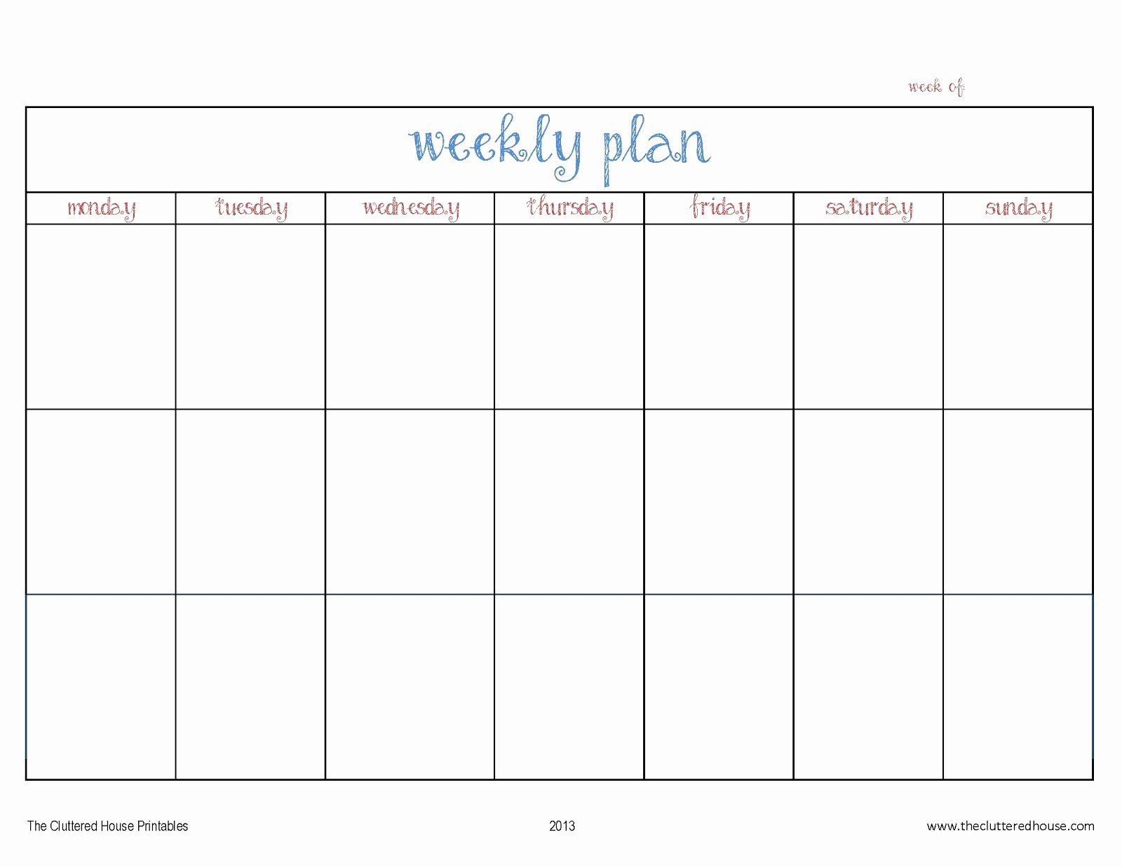 7 Day Menu Planner Template Lovely Cluttered House Weekly Planner Printable House Plans