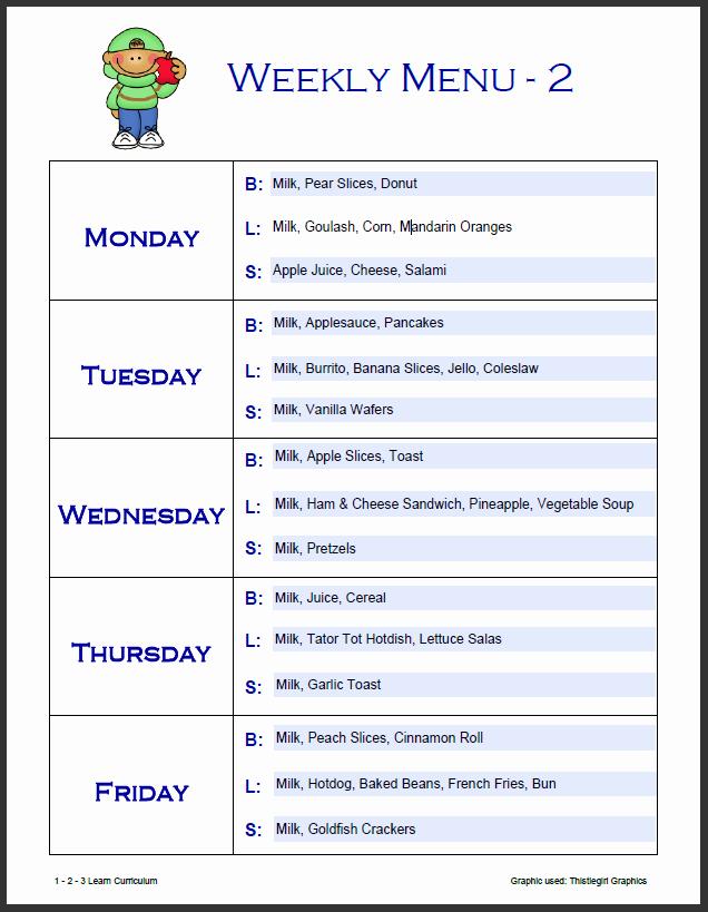 7 Day Menu Planner Template Luxury 7 Best Of Free Printable Day Care Weekly Menu